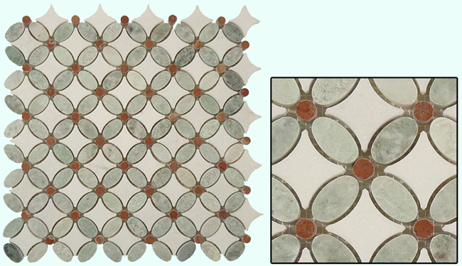 Marble Tile in Ming Green Red and Thassos White