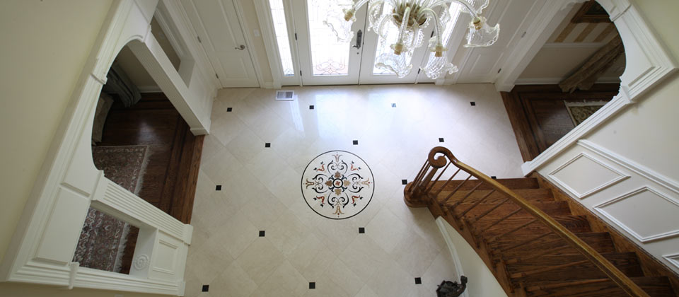 Fuda Tile Showcase Picture   Entry Foyer With Custom Waterjet Medallion And  18x18 Italian Marble