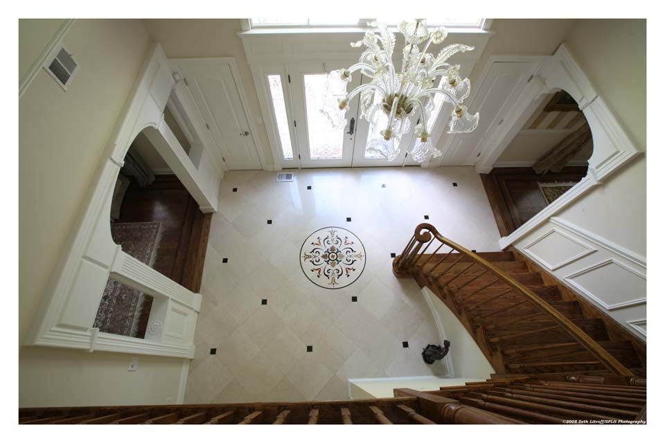 Living Spaces   Impressive Wall and Floor TileEntry Foyer with Custom Waterjet Medallion and 18x18 Italian jpg. Entrance Floor Tiles Design Images. Home Design Ideas